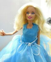 BARBIE DOLL CURLY  BLONDE HAIR PRETTY BLUE DRESS GOLD HIGH HEELS