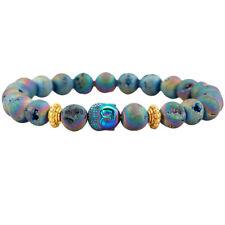 Titanium Coating Rainbow Crystal Quartz Agate Gemstone Bracelet for Men Women