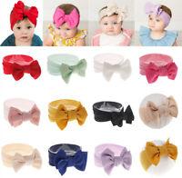 Solid Color Bow Headwrap Baby Knot Nylon Wide Headband Turban DIY Soft Elastic