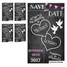 40 Save the Date Evening Wedding Magnet Cards+ Envs Chalkboard Hearts Love Birds