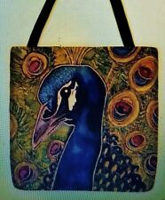 Peacock Feathers Wild VIVID colors whimsical artist tote bag purse 16 x 16 New