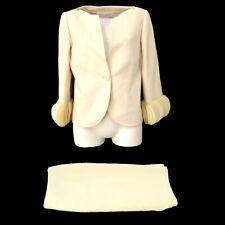 Valentino Front Opening Setup Suit Jacket Skirt Ivory #12 Authentic AK42565