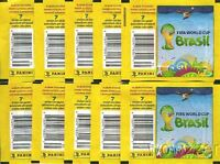 (10)2014 FIFA World Cup Brazil Panini Factory Sealed Sticker Packs-70 Stickers