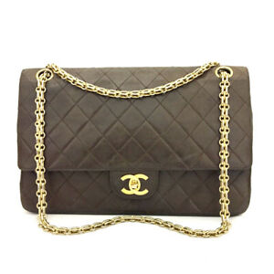 Vintage CHANEL Brown Double Flap 27 Quilted Lambskin Chain Shoulder Bag/90596