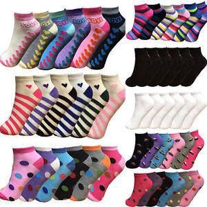 Women's Girls Trainer Socks Liner Ankle Socks 6 Pairs Pack Ladies Socks