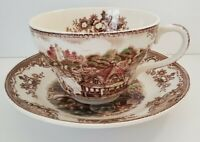 Johnson Bros Old Britain Castle Oversize Jumbo Cup & Saucer, brown transferware