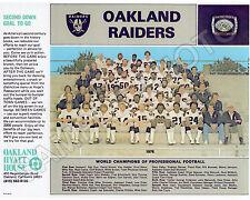 1976 OAKLAND RAIDERS SUPER BOWL CHAMPIONS 8X10 TEAM PHOTO STABLER BRANCH CASPER