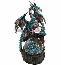 Large Blue Dragon with Baby in Waterball - Juliana Mystic Legends Ornament 21cm