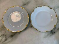 """2 VTG Hutschenreuther Racine China Bread/Dessert Plates Gold Trim Bavaria 6 1/4"""""""