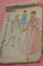 Vtg Womens Simplicity Pattern 3281 1950's Nightgown Size 14 Cut