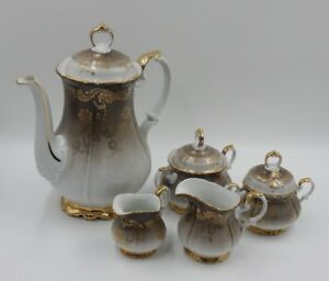 EBERTHAL EDELSTEIN 650 BROWN & GOLD FLORAL PORCELAIN FIVE PIECE TEA SET