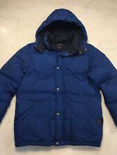 Polo Ralph Lauren Boys Blue Down Puffer Jacket Size Large 14-16 Coat Hood AA5