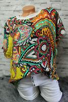 Ibiza Style Ethno Shirt Oversized Tunika Bluse Bohemian bunt 36 38 40 Neu