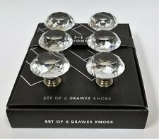 NEW TAHARI SET OF 6 ANTIQUE SILVER FINISH CLEAR CRYSTAL DRAWER,CABINET,KNOBS