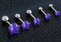 Stainless Steel Purple Tragus Cartilage Piercing Stud Earring Ear Ring Jewelry