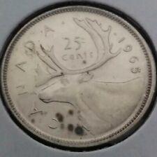 CANADA SILVER 25 CENTS COIN Queen Elizabeth II 1965 Cameo PL