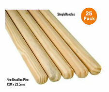 25 x wooden Broom Handles / Mop Stales 1.2 Metres X 23.5 mm Trade Pack