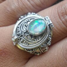 925 Sterling Silver-LCK03-Balinese Carved Poison/Wish Locket Ring & Opal Size 6