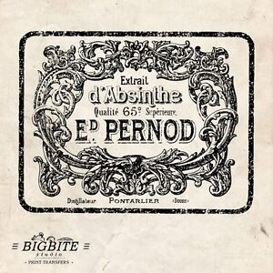 WATER DECAL: Shabby Chic VINTAGE ABSINTHE LABEL (Furniture Print Transfer) #008