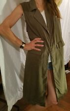 BAR III SLEEVELESS GREEN LONG VEST OPEN FRONT COVER UP SIZE L LARGE COLLAR SHIRT