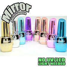 SANTEE 8 Pcs Color Mirror Effect Metallic No UV LED Nail Polish Bold Lacquer