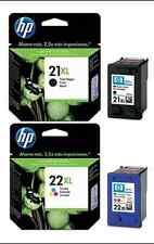 GENUINE ORIGINAL HP 22XL COLOUR & HP 21XL BLACK INK CARTRIDGES 1ST CLASS POSTAGE