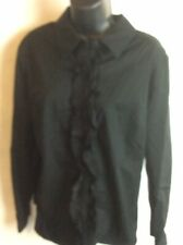 New Style & Co Long Sleeve Ruffled Front Button Down Blouse Size 10