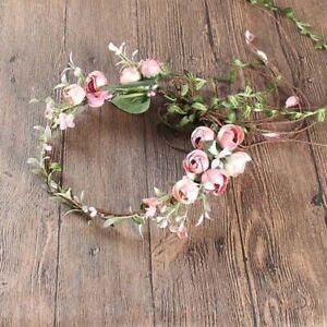 Adjustable Flower Headband Floral Garland Crown Halo Headpiece Boho Wedding