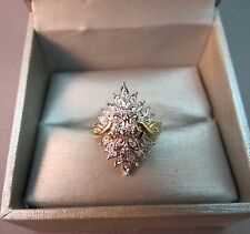 10K Diamond Yellow Gold Ring Size 6 Cluster Cocktail 4.51g Stunning 22mm High