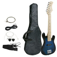 "30"" Kids Blue Electric Guitar 6 String w/ Gig Bag Case Beginner Starter Hardwood"