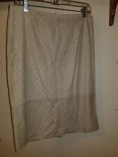 NWT $395.00 DONCASTER  Collection Beige Suede Leather Skirt Sz 6 Cut Out Design