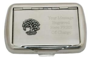 Tree of Life Tobacco Tin Stainless Steel with Free Engraving Gift 515