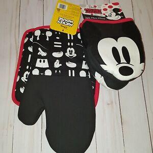 Disney Mickey Mouse Oven Mitt and Potholder Set with Neoprene Mini Mitts C3