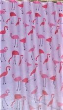 "Flamingo Fabric Shower Curtain W/Hooks 70"" x 72"" Pink White"