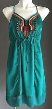 Boho Chic LOLITTA Jade Green Satin Drawstring Waist Dress Size 6/8 - Stunning!