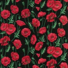 Fat Quarter Poppies Red Poppy Stems And Leaves Flowers Cotton Quilting Fabric