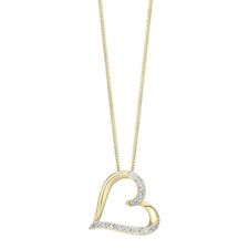 Classy 0.50 Cts Natural Diamonds Heart Pendant In Fine Certified 14K Yellow Gold