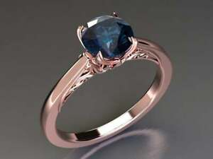 14k Rose Gold Plated Color Changing Blue Alexandrite Solitaire Engagement Rings