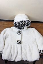 Rothschild Girl's Coat 3T Toddler White Faux Fur Leopard Print Machine Washable