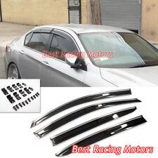 JDM Style Window Rain Guard Visors (Tinted) + Clips Fits 13-17 Honda Accord 4dr