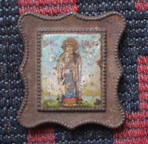 1800s Russian Orthodox Religious small ICON Holy Grand Duchess Saint Olga Kiev