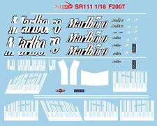 1/18 Barcode Marlboro Conversion Decal for Ferrari F2007 F1 Minichamps Model Car