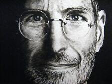 Original Painting Steve Jobs Face Portrait Glasses Apple iPhone ACEO Art .