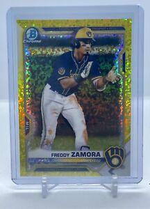2021 Bowman Chrome Freddy Zamora - Yellow Speckle Refractor - # /75