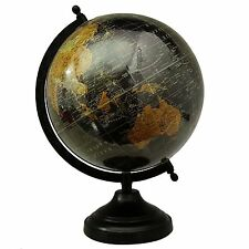 "Big Rotating Desktop Globe World Earth Black Ocean Table Decor Globes 12.5"""