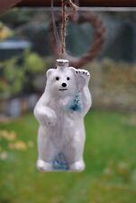 GLASS Christmas tree decoration ornament bauble POLAR BEAR glitter sparkle snow