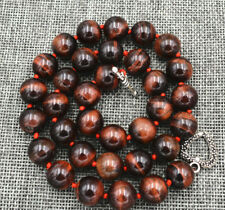 """18"""" Tibetan silver love clasps 556 Beautiful 12Mm Red tiger's-eye beads necklace"""