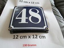 Hausnummer Nr. 48 weisse Zahl auf blauem Hintergrund 12 cm x 12 cm Emaille Neu