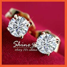 18K YELLOW GOLD GF SIGNITY CT DIAMOND MEN WOMEN GIRL ROUND STUD EARRINGS JEWELRY