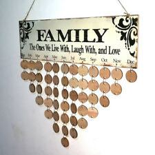 Rustic Retro Wooden Family Birthday Reminder Calendar Board Wall Hanging Plaque